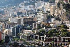 La Colle Monaco. MONTE CARLO, MONACO - JANUARY 18: La Colle cityscape in Monte Carlo on JANUARY 18, 2012. Aerial photo of La Colle residential district in Monte Royalty Free Stock Images