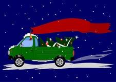 La collecte de voiture, derrière l'arbre, et le conducteur tient le drapeau illustration stock