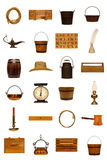 la collection antique americana d'isolement objecte vieux Photo stock