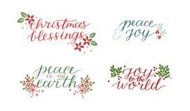 La collection avec 4 cartes de vacances a fait la main marquant avec des lettres la paix de bénédictions de Noël à la terre Joie  illustration stock