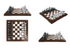La collection d'échecs en bois s'est étendue en position originale sur Photos stock