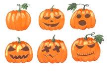 La collection d'acrylique a peint des punpkins de Halloween d'isolement sur le fond blanc Photo libre de droits