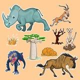 La collection d'animaux et d'arbres de l'Afrique a placé 02 Photo stock
