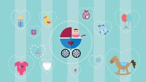 La collection d'icône de bébé a placé avec la couleur et l'objet mous tel que le promeneur, cheval, jouets, couches-culottes, bou Image stock