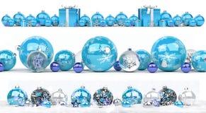 La collection de babioles de Noël bleu et blanc a aligné le renderin 3D Images libres de droits