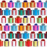 La collection de beaucoup de cadeaux présente la naissance de place de fond de Noël photo stock