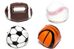 La collection de la boule de sport avec le football, le rugby, le base-ball et le Ba Photos libres de droits