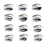 La collection de différent composent des eye-liner Photos stock
