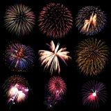 La collection de feu d'artifice et l'ensemble de feux d'artifice colorés s'allument sur le b Photos libres de droits