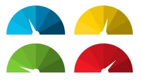 La collection de 4 a isolé les tachymètres colorés illustration stock