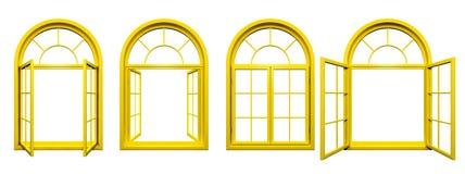 La collection de jaune a arqué des fenêtres d'isolement sur le blanc Images stock