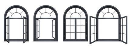 La collection de noir a arqué des fenêtres d'isolement sur le blanc Photos stock
