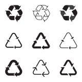 La collection de noir réutilisent des icônes sur le fond blanc Illustration de Vecteur