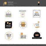 La collection de pain et le café de boulangerie conçoivent le logo Photographie stock libre de droits