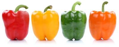 La collection de paprika poivre des paprikas de paprika dans un côté de rangée Photographie stock