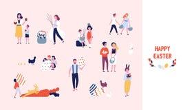 La collection de personnes portant de grands oeufs de pâques, gâteaux, fleurs et saule de chat décorés s'embranche, jouant badine illustration stock