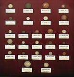 La collection de pièces de monnaie historiques Images stock