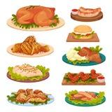 La collection de plats savoureux de volaille, viande de poulet frit, saucisses, hamburger a servi sur l'illustration de vecteur d illustration libre de droits