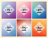 La collection de six lignes géométriques insectes de vente, peut être employée comme affiche ou bannière Photographie stock libre de droits