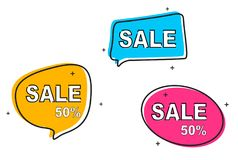 La collection de la vente tirée par la main a dénommé des bannières, labels, étiquettes, emblèmes Illustration de vecteur d'icône illustration stock