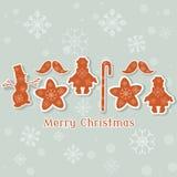 La collection de vintage de Noël joue rétro Noël de bonhomme de neige Images libres de droits