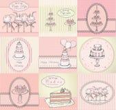 La collection des gâteaux, des petits gâteaux et du gâteau saute le fond Images stock