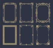 La collection encadre la couleur d'or d'isolement sur le noir Photo libre de droits