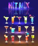 La collection est les cocktails très populaires Image libre de droits