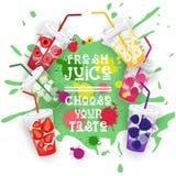 La collection fraîche de Juice Set Colorful Fruit Drinks choisissent votre affiche de café de goût Photographie stock