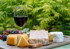La collection fran?aise de fromages, le Riche de Saveurs jaune, le carreau de Vieux et les fromages de Peres de f?ves de Le peche photos stock