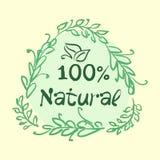 La collection plate de label du produit biologique 100 et la nourriture naturelle de qualité de la meilleure qualité badge des él Photo libre de droits