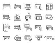 La collection simple de la carte de crédit a rapporté la ligne icônes Photographie stock libre de droits
