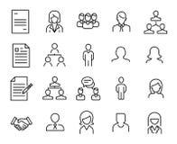 La collection simple de ressources humaines heure a rapporté la ligne icônes illustration de vecteur