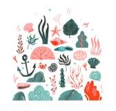 La collezione di arte subacquea grafica delle illustrazioni di ora legale di vettore del fumetto disegnato a mano dell'estratto h illustrazione vettoriale