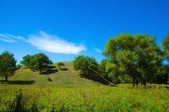 La collina circondata da vegetazione un giorno soleggiato Immagine Stock Libera da Diritti