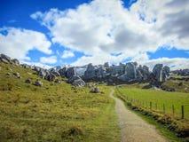 La collina del castello, isola del sud della Nuova Zelanda il giorno nuvoloso Fotografia Stock