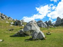 La collina del castello, isola del sud della Nuova Zelanda il giorno nuvoloso Fotografie Stock