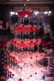 La colline des verres avec le champagne Images libres de droits