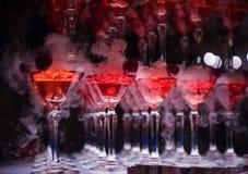 La colline des verres avec le champagne Photo stock
