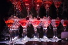 La colline des verres avec le champagne Photo libre de droits