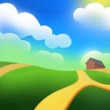 La colline verte d'une ferme sous le Sun Image stock