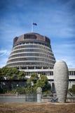 La colmena, el ala ejecutiva de los edificios del parlamento de Nueva Zelanda Foto de archivo
