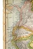La Colombia e l'Ecuador sulla mappa d'annata Fotografie Stock Libere da Diritti