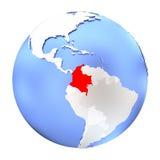 La Colombia sul globo metallico isolato illustrazione vettoriale
