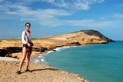 La Colombia, turista sulla spiaggia in Colombia Fotografie Stock Libere da Diritti