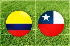 La Colombie contre le match de football de piment image stock