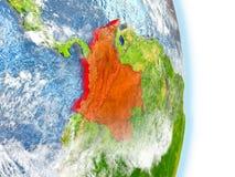 La Colombie en rouge sur terre illustration libre de droits
