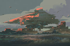 La colonie futuriste sur une planète avec les structures méga illustration libre de droits