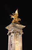 La colonna del ponticello del Alexander III Immagini Stock Libere da Diritti