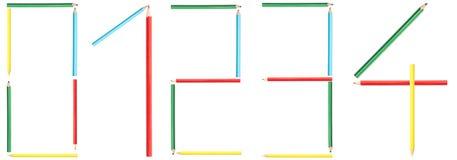 La coloration crayonne des numéros 0-4 Image libre de droits